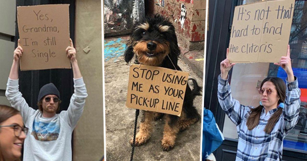 Dude with sign – Lustige Schilder auf Instagram